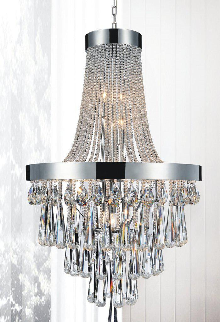 "Classic Formal Polished Stainless Steel and Crystal Chandelier - 24"" x 42"" - Rustic Deco Incorporated"