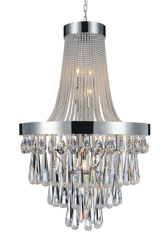 "Polished Stainless Steel Crystal Chandelier - Modern French 24"" x 42"" - Rustic Deco Incorporated"