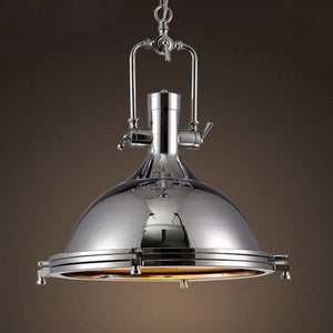 "Classic Large Nautical Chrome Pendant Light Lighting - Polished - 18"" - Rustic Deco Incorporated"