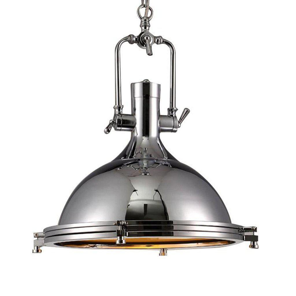 "Large Polished Chrome Nautical Pendant Light - 18"" Diameter - Rustic Deco Incorporated"