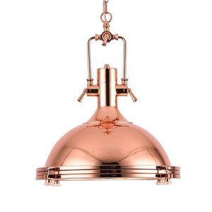 "Nautical Large Polished Copper Pendant Light - 18"" Diameter - Rustic Deco Incorporated"