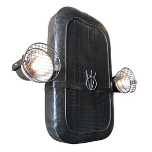 "Classic Car Grille 3D Metal Wall Art - Working Headlights - 37"" Model T - Rustic Deco Incorporated"