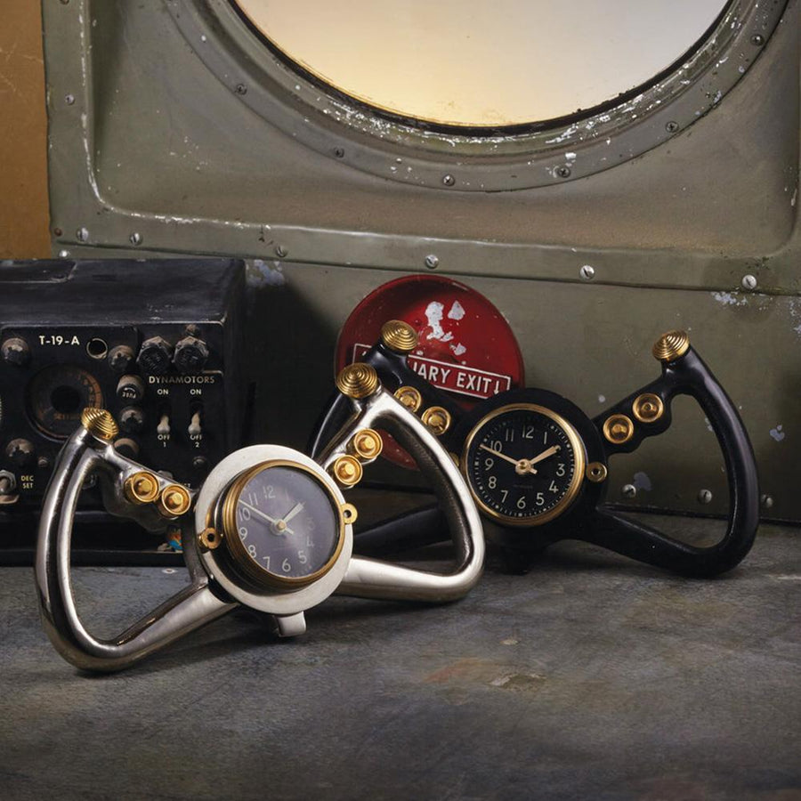 Cockpit Table Clock Black - Desk Clock - WWII USAF Steering Yoke - Automobile - Rustic Deco Incorporated