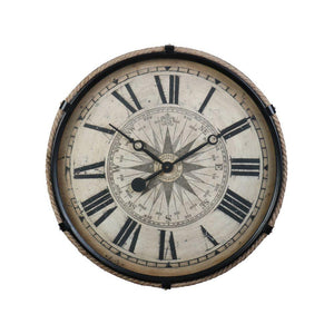 Compass Wall Clock Black Large - Mariners's Navigational Compass 17th Century - Rustic Deco Incorporated