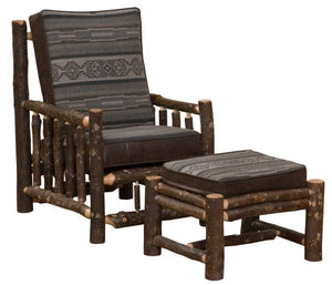 Cowhide Hickory Log Leisure Chair - Lounge Chair - Cabin - Western-Rustic Deco Incorporated