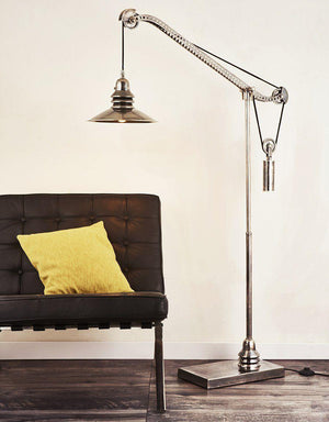Crane Brass Nickel Steampunk Floor Lamp-Rustic Deco Incorporated