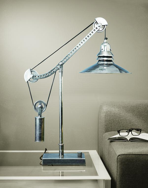 "Crane Table Lamp - Solid Brass Hardware - Nickel - 31"" High-Rustic Deco Incorporated"