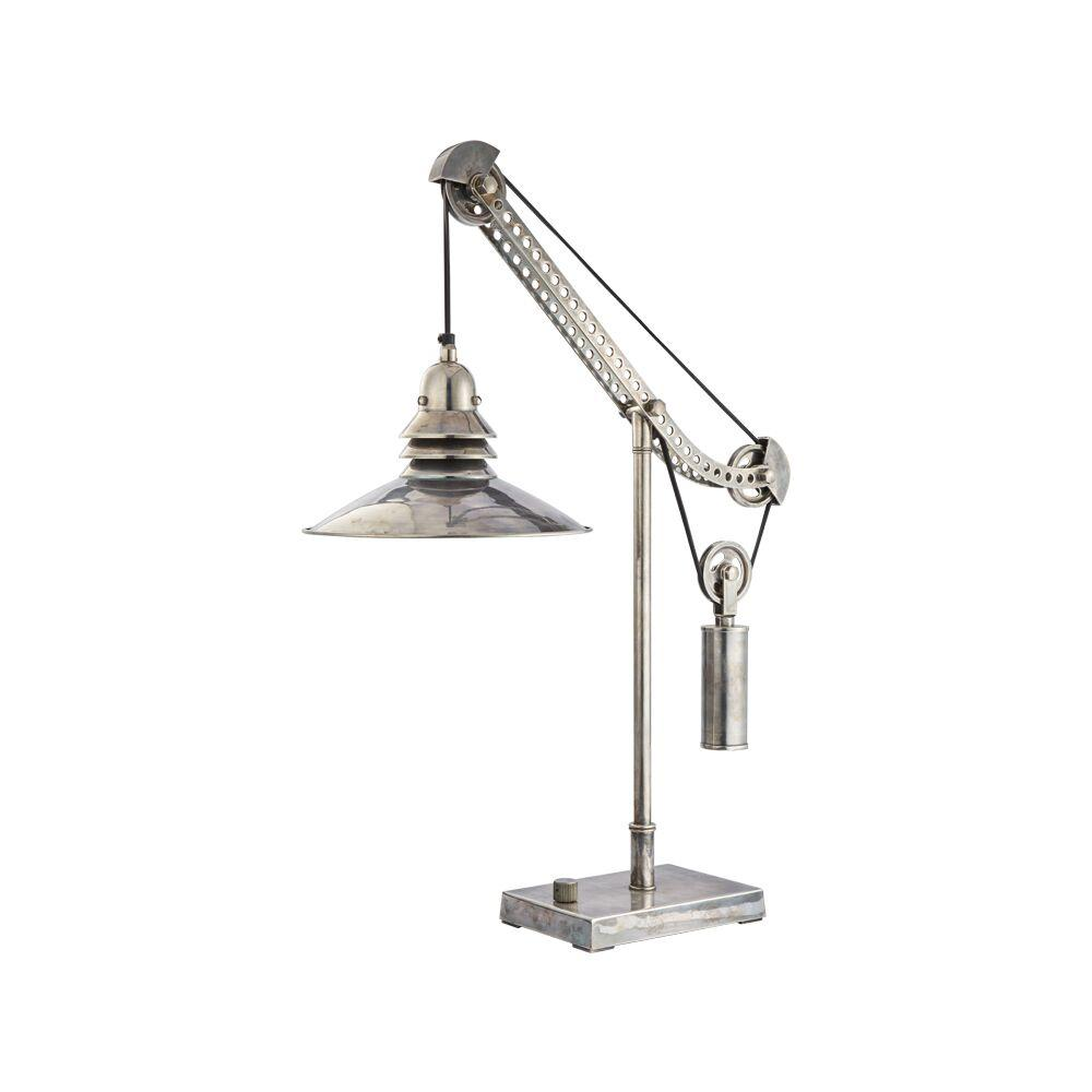 "Crane Table Lamp - Solid Brass Hardware - Nickel - 31"" High - Rustic Deco Incorporated"