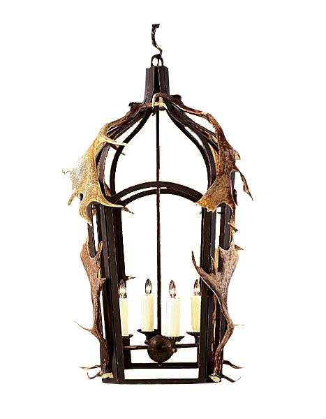 Custom Hand Forged Iron Band Lantern w/ Real Antlers - Lodge or Cabin-Rustic Deco Incorporated