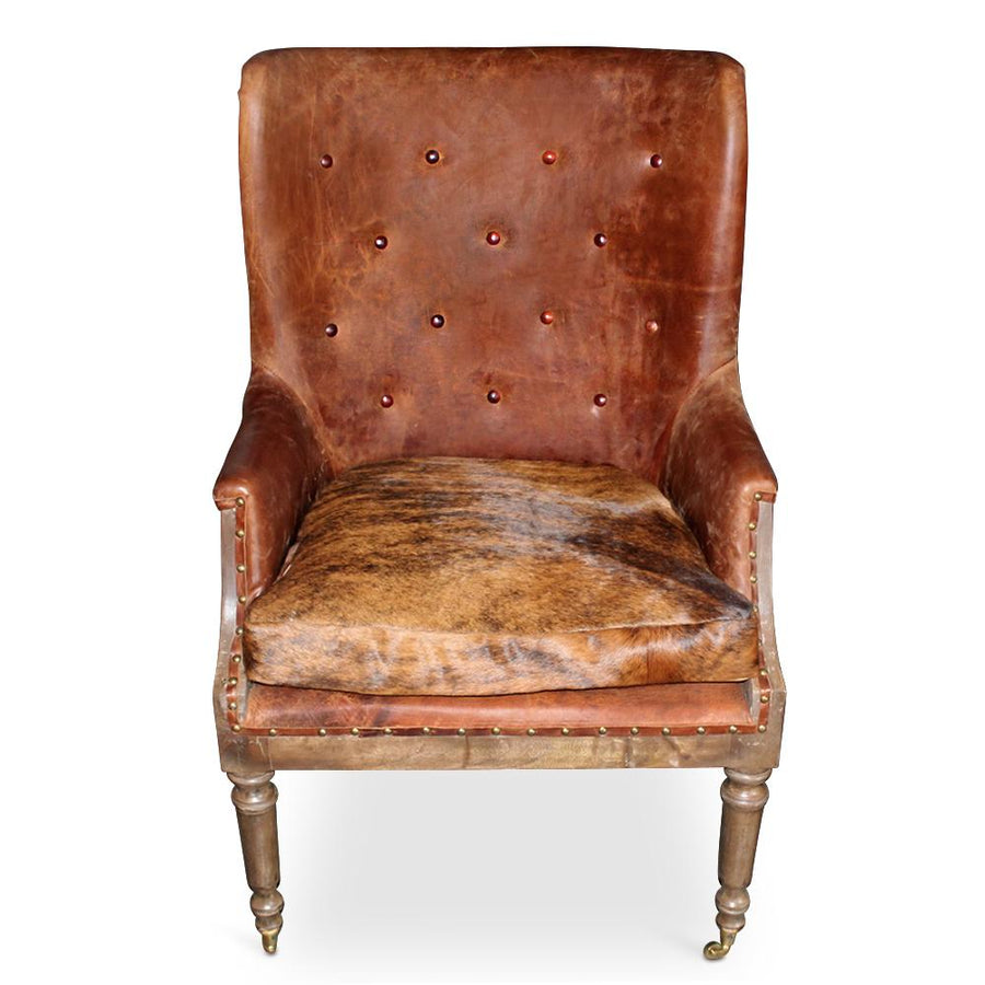 Deconstructed Cigar Club Chair - Brown Tufted Leather - Cowhide Seat-Rustic Deco Incorporated