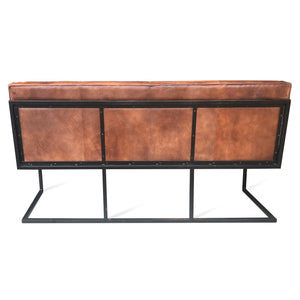 "Distressed Brown Leather Bucket Seat Dining Bench 72"" Long Bench Rustic Deco"