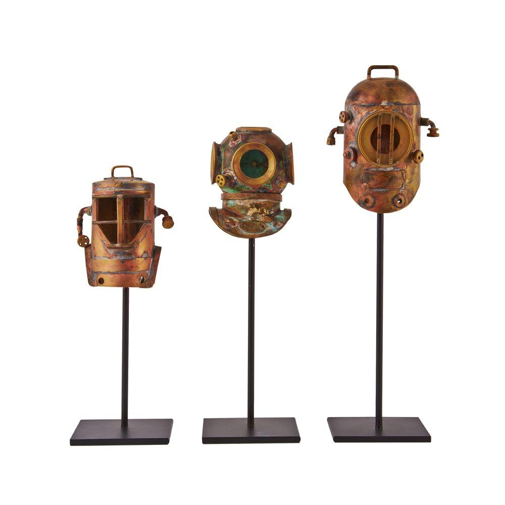 Diver Helmets - Antique Solid Brass Diver's Helmet Figurine - Set of 3-Rustic Deco Incorporated