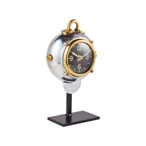 Diver Table Clock - Brass - Desk Clock - Polished Aluminum - Nautical - Rustic Deco Incorporated