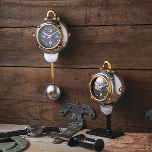 Diver Wall Clock - Polished Aluminum - Brass - Nautical - Home Office - Rustic Deco Incorporated