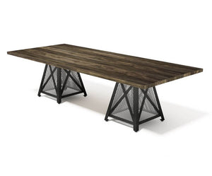 Dover Modern Industrial Conference Table - Steel Base - Hardwood Top-Conference Table-Rustic Deco Incorporated