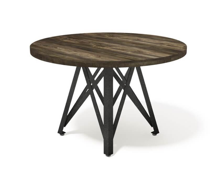 Dover Modern Industrial Dining Table - Steel Base - Round Hardwood Top-Dining Table-Rustic Deco Incorporated