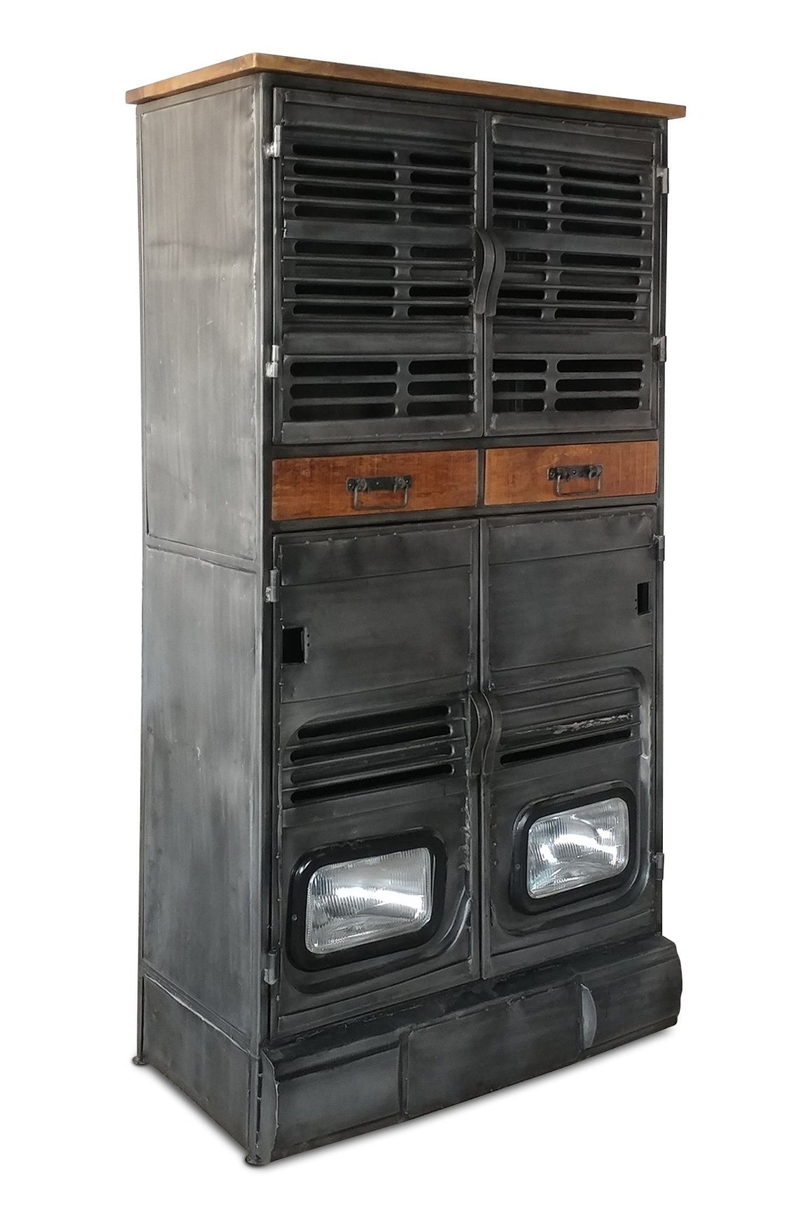 Industrial Storage Cabinet - Vintage Truck Working Headlights - Metal-Rustic Deco Incorporated