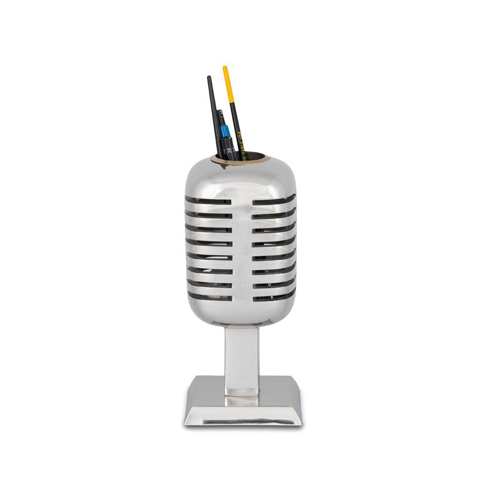 Eclectic Microphone Pencil Holder - Polished Aluminum - Iconic 1940s Era - Rustic Deco Incorporated