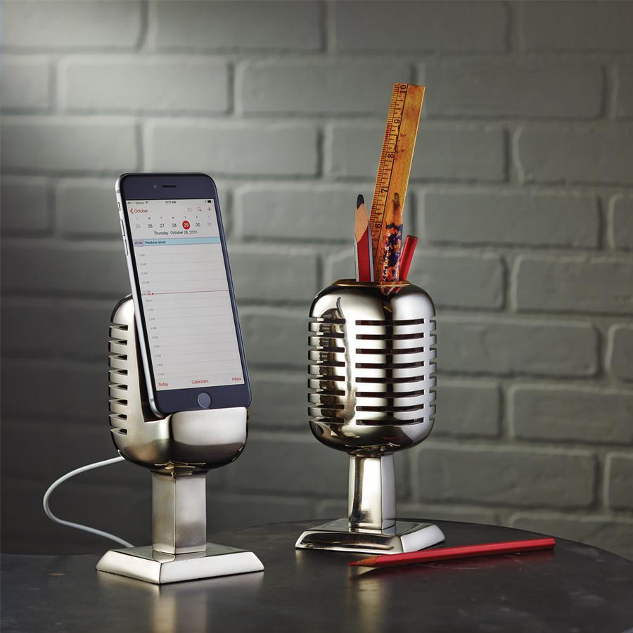 Eclectic Microphone Phone Stand - Polished Aluminum - Iconic 1940s Era - Rustic Deco Incorporated
