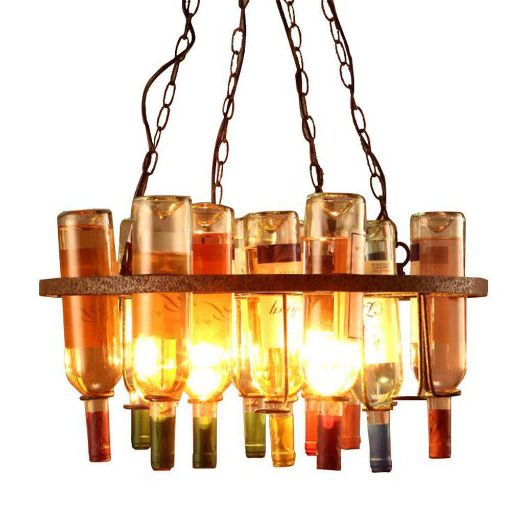 Wine Bottle Holder Chandelier - Light Fixture - Rustic Farmhouse - Rustic Deco Incorporated