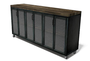 "Edwin Modern Industrial Cart Credenza- Steel Casters - Wood Top - 72""-Cart-Rustic Deco Incorporated"
