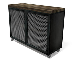 Edwin Modern Industrial Cart Credenza- Steel Casters - Wood Top-Cart-Rustic Deco Incorporated