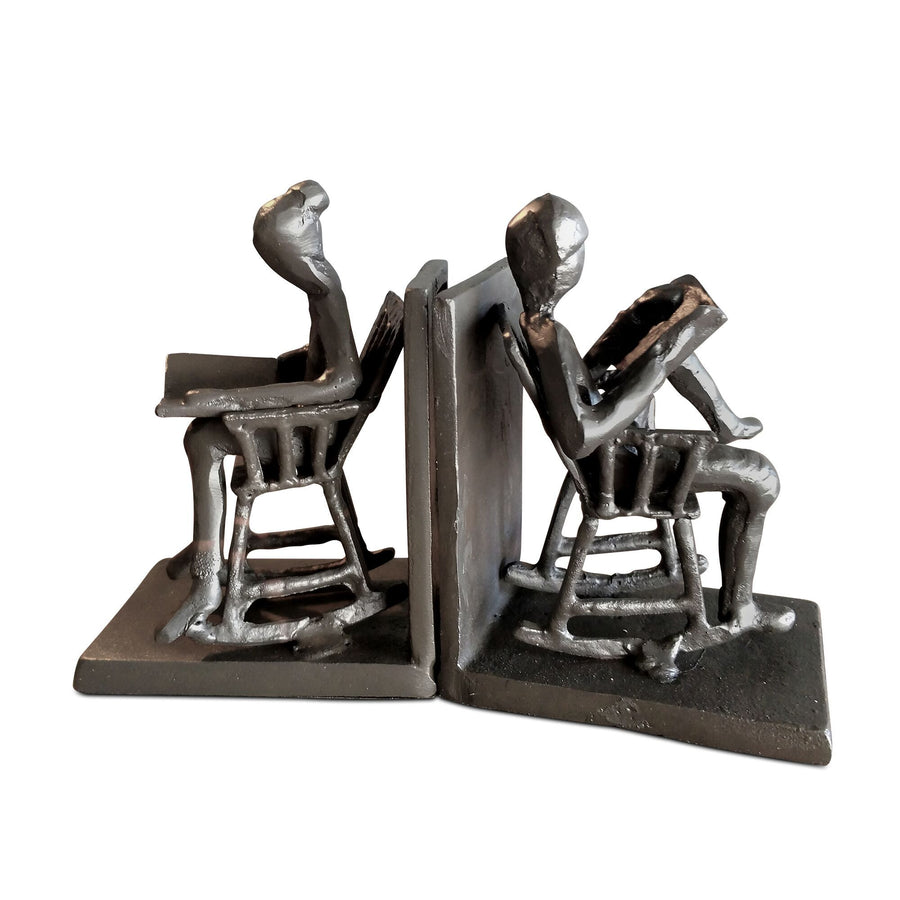 Elderly With Rocking Chairs Bookends - Cast Iron Metal - Rustic Deco Incorporated