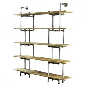 Eugene Modern Industrial Wall Pipe Bookcase - Unique - Solid Wood-Rustic Deco Incorporated