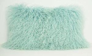 Exotic Aqua Tibetan Sheep Pillow - Rustic Deco Incorporated