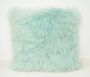 Exotic Aqua Tibetan Sheep Pillow-Rustic Deco Incorporated