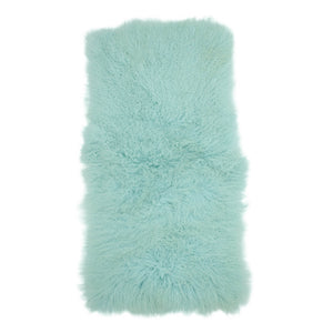 Exotic Aqua Tibetan Sheep Throw or Rug-Rustic Deco Incorporated