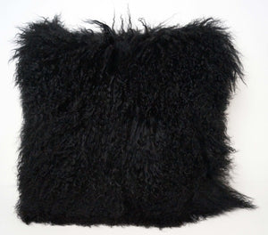 Exotic Black Tibetan Sheep Pillow - Rustic Deco Incorporated