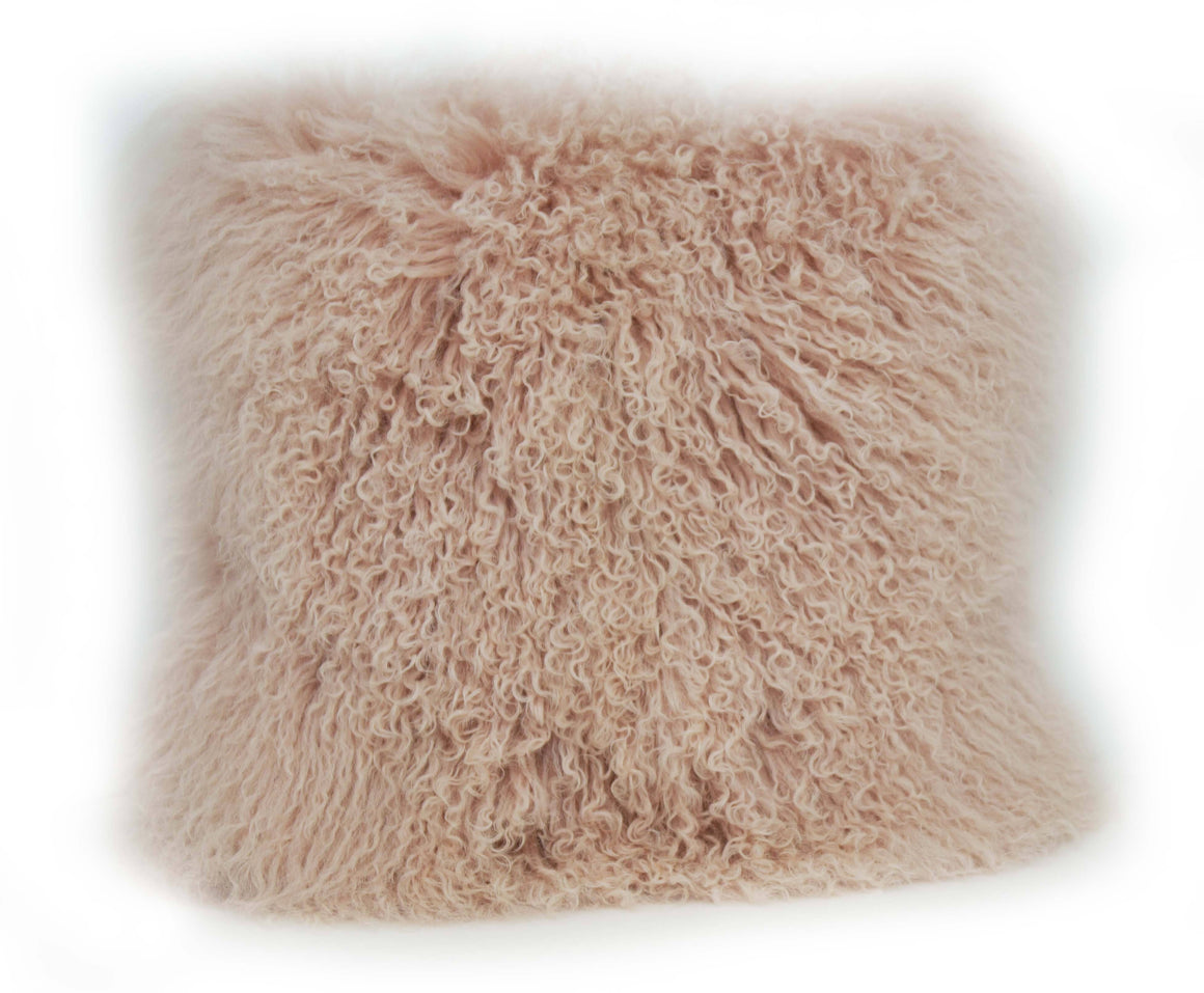 Exotic Blush Pink Tibetan Sheep Pillow-Rustic Deco Incorporated