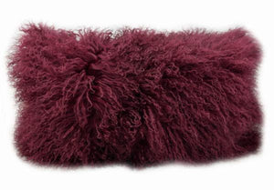 Exotic Cabernet Tibetan Sheep Pillow - Burgundy-Rustic Deco Incorporated