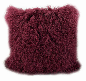 Exotic Cabernet Tibetan Sheep Pillow - Burgundy - Rustic Deco Incorporated
