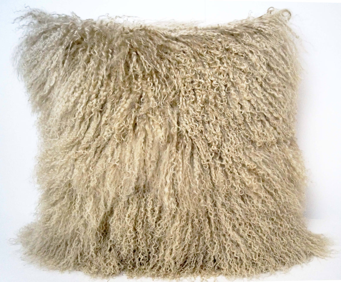 Exotic Champagne Tibetan Sheep Pillow - Rustic Deco Incorporated