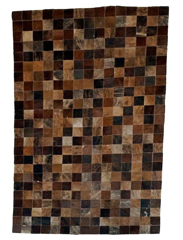 Exotic Genuine Cowhide Block Rugs 5x8' or 8x10'-Rustic Deco Incorporated