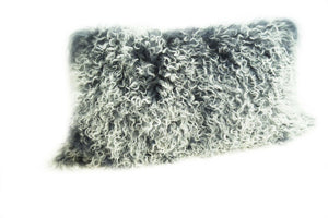 Exotic Grey Tipped Tibetan Sheep Pillow - Rustic Deco Incorporated