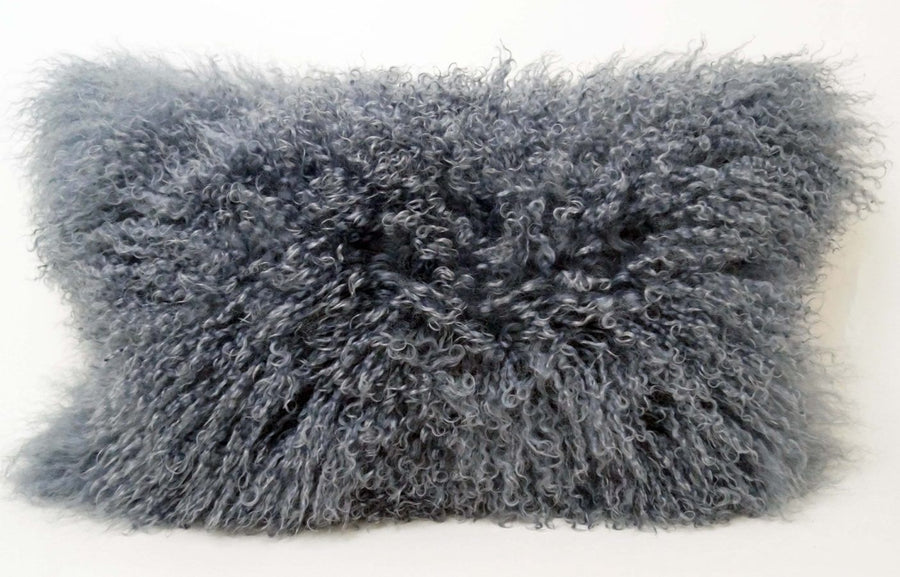 Exotic Steel Grey Tibetan Sheep Pillow - Rustic Deco Incorporated