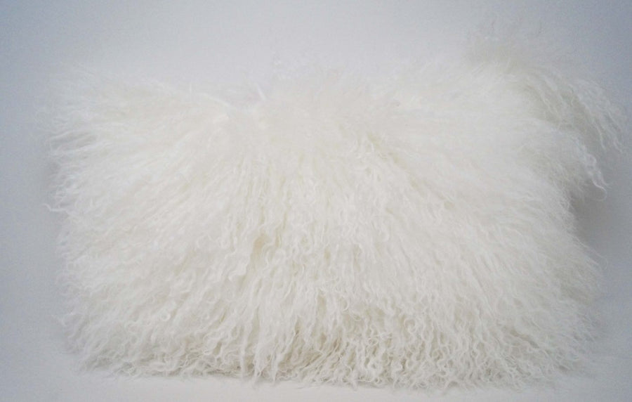 Exotic White Tibetan Sheep Pillow - Rustic Deco Incorporated