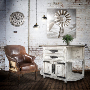 Farmhouse Distressed Credenza - Walnut Sideboard - Rustic-Rustic Deco Incorporated