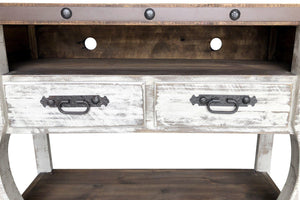 "Farmhouse Distressed TV Console Media Center - Rustic Solid Wood 61""-Rustic Deco Incorporated"
