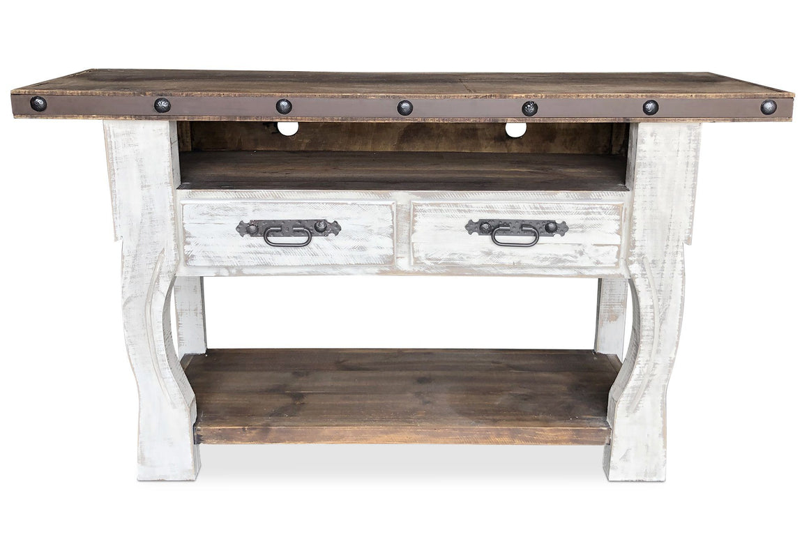 "Farmhouse Distressed TV Console Media Center - Rustic Solid Wood 61"" - Rustic Deco Incorporated"