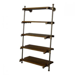 Etagere Farmhouse Industrial Leaning Pipe Bookcase - Wall Mounted-Rustic Deco Incorporated