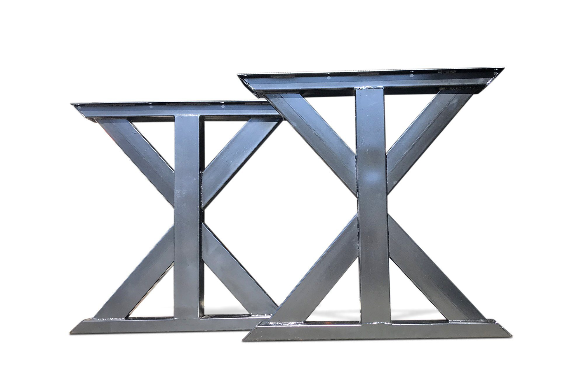 Farmhouse Industrial Trestle Metal Table Legs - Black Finish Steel