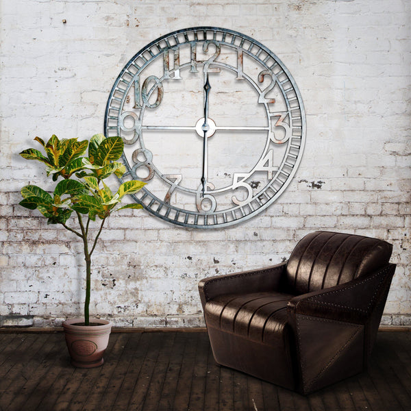 Extra Large Farmhouse Industrial Metal Wall Clock 36