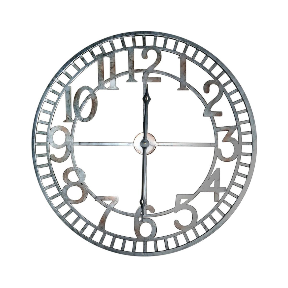 "Extra Large Farmhouse Industrial Metal Wall Clock - 36"" Diameter-Rustic Deco Incorporated"