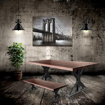 Farmhouse Industrial Trestle Metal Table Legs - Black Finish Steel - Rustic Deco Incorporated