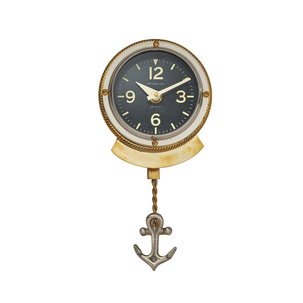 First Mate Wall Clock - Nautical - Brass - Polished Aluminum-Rustic Deco Incorporated