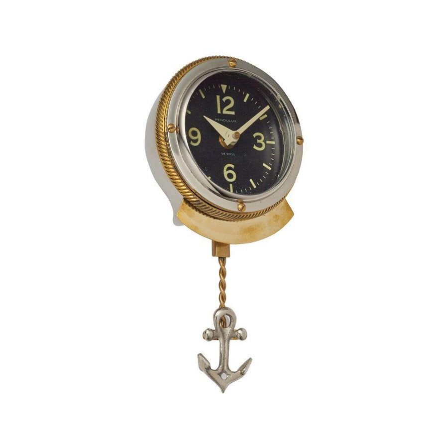 First Mate Wall Clock - Nautical - Brass - Polished Aluminum - Rustic Deco Incorporated